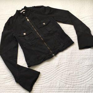 Joie Utility Zip Up Jacket Black Raw Hems Small